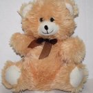 "Greenbrier TEDDY BEAR 10"" Sits Soft Toy Light Orange Peach Tan Plush Brown Bow"