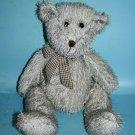"B J Toy TEDDY BEAR 14"" BJ Gray Eyelash Plush Gingham Bow Grey Stuffed Soft Toy"