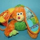 "Infantino DISCOVERY Easter BUNNY RABBIT 8"" Baby Orange Plush Soft Toy Rattle"