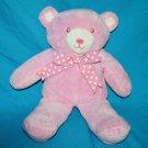 "TEDDY BEAR RATTLE 13"" Baby Girl Pink Plush Polka Dot Bow Soft Toy Sewn Eye Lovey"