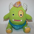 "Baby Aspen CALVIN CLOSET MONSTER 10"" Green Knit Plush Soft Toy Horns Yarn Mane"