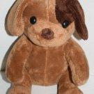 """10"""" Plush PUPPY DOG Dark Brown Eye Patch Soft Toy Foam Stuffed Tan Body Sitting"""