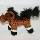 "Battat Horse 5"" Mini Brown Black Mane Tail White Leg PONY Plush Stuffed Soft Toy"