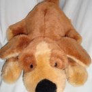 """Quality Product PUPPY DOG 14"""" Plush Brown Lying Tummy Stuffed Toy Black Nose"""