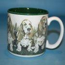 Basset Hound Dog Coffee Mug Tea 10 Oz Cup Faded Ceramic Flowers Balloons S Tuck