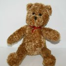 """Target Valentines TEDDY BEAR 9"""" Brown Plush Toy Red Ribbon Galerie Xmas 2009"""