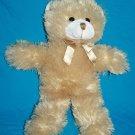 """A Mart TEDDY BEAR 17"""" Beige Plush Gold Bow Soft Toy Long Legs Stuffed Animal"""