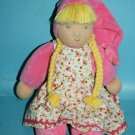 """Kathe Kruse Waldorf Baby Doll 14"""" Schatzi Soft Toy Pink Sweetheart Floral Dress"""