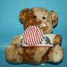 """Dakin 1984 LOLLIPOP Teddy Bear 9"""" Sits Brown Plush Stuffed Animal Soft Toy VTG"""