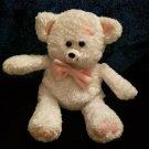 "Oriental Trading Teddy BEAR 8"" White Plush Pink Heart Bow Feet Stuffed Animal"
