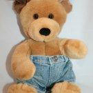 """Build A Bear DOG 14"""" Jean Shorts Brown Tan Dark Ear Tail Plush Stuffed Soft Toy"""