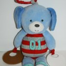 """Carters Blue Dog 11"""" Plush Baby Toy Teether Sports Baseball Football No Rattle"""