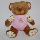 "Yangzhou Hengan TEDDY BEAR 9"" Stuffed Pink Ears Plush Flower Polka Dots Soft Toy"
