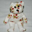 """Starry Starry TEDDY BEAR 7"""" Plush White Red Gold Star Bean Bag Soft Toy Stuffed"""