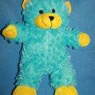 """Kellytoy TEDDY BEAR 14"""" Aqua Blue Yellow Ears Feet Plush Soft Toy Stuffed Animal"""