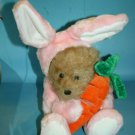 "Dillards Teddy BEAR 12"" Easter Bunny Rabbit Fuzzy Plush Pink Hoodie Carrot Suit"