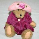 "Boyds Bears BAILEY Teddy Bear 8"" Plum Velvet Dress Pink Cap Plush Stuffed Toy"