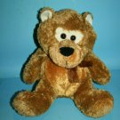 "Puli Intl Teddy Bear 13"" Brown Shaggy Plush Black Nose Tony Soft Toy Stuffed Bow"