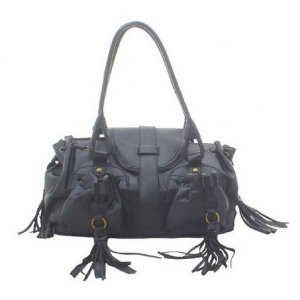 Designer Double Pocket Shoulder Bag (Black)