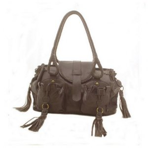 Designer Double Pocket Shoulder Bag (Dark Brown)
