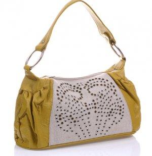 purse handbag studded lime yellowish white