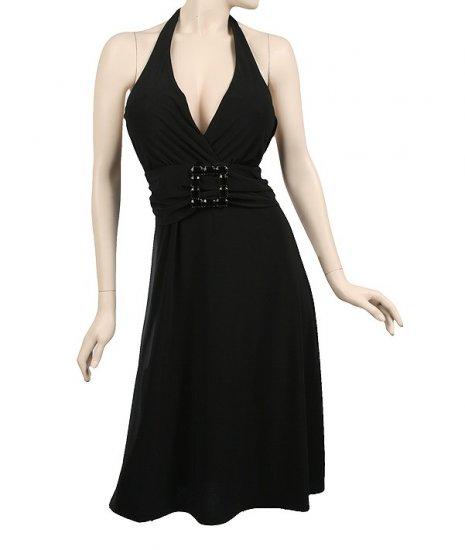 Black halter dress belted 2xl
