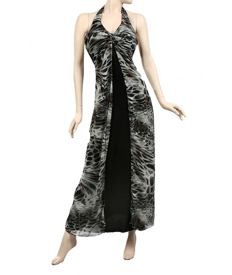 Black Animal Print long halter dress large 10-12
