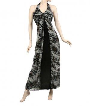 Black Animal Print long halter dress large 10-12