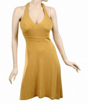 mustard yellow gold halter dress medium 8-10