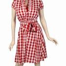 Retro 50's 60's retro style cotton and linen dress red/white medium 6/8