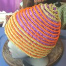 Purple and lime crochet hat