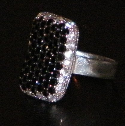 Signed 925 Pave Onyx Sterling Silver 5.2g Ring Size 7