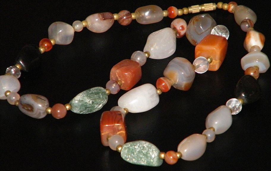 Natural Gemstone Quartz Agate Chunky Bead Necklace