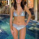 (L) 40.Beautiful, new Prestige, Hyacinth silver metal bikini