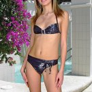 (XS) 34.Beautiful, new Prestige, Orchidea black metal bikini, bandeau top, thong. Free shipping!