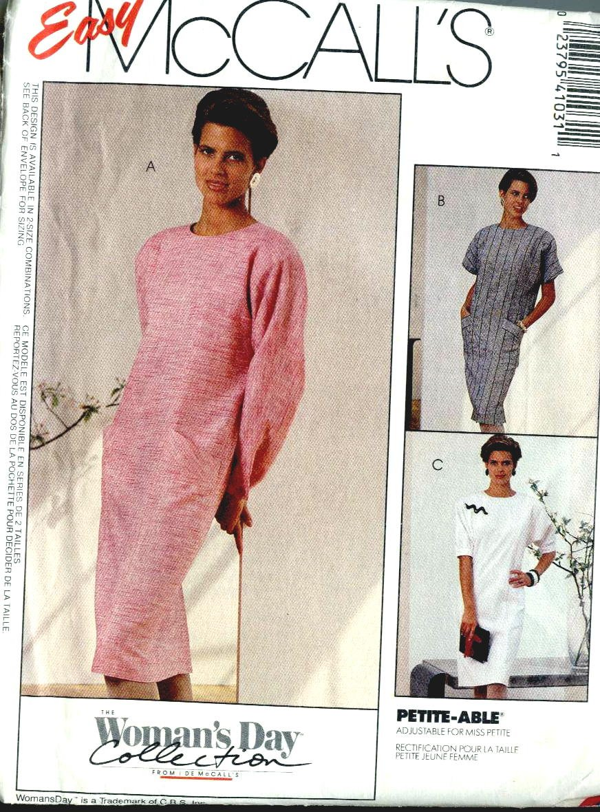 80s vintage Womens Dress sewing pattern McCalls 4103