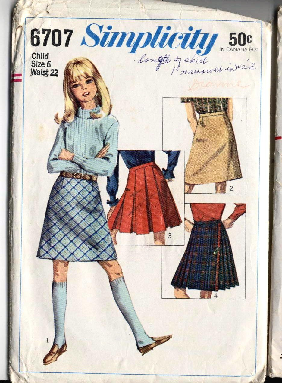 60s vintage Girls Pleated, Straight Skirts size 6 sewing pattern Simplicity 6707