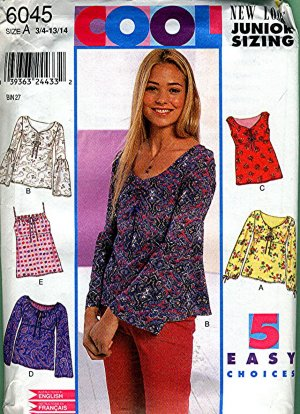 Junior Top sewing pattern size 3/4 - 13/14 Simplicity 6045