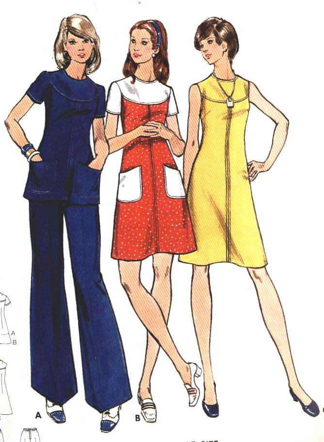 1970s Retro Tunic Top or Dress n Pants size 14 bust 36 Butterick 3070