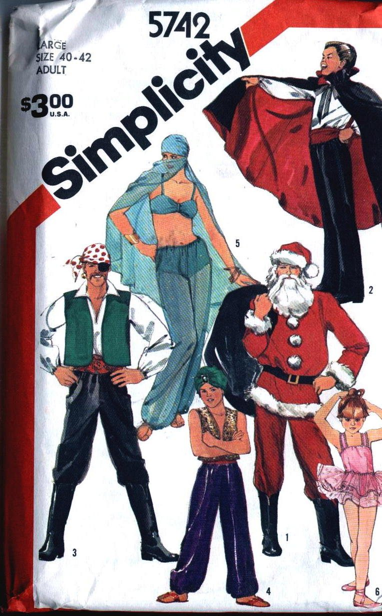 Costumes Belly Dance, Santa, Ballerina Simplicity 5742 vintage sewing pattern