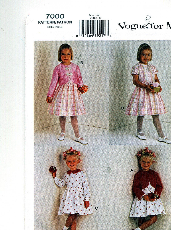 Girls Dress n Jacket size 6 7 8 sewing pattern Vogue 7000