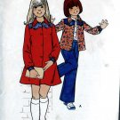 1970s Retro Dress, Shirt, Pants toddler girl sewing pattern size 4 Butterick 3872