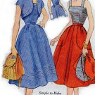 1940s 50s Kimono Sleeves JACKET, Fitted Bodice, Flared Skirt Simplicity 3918