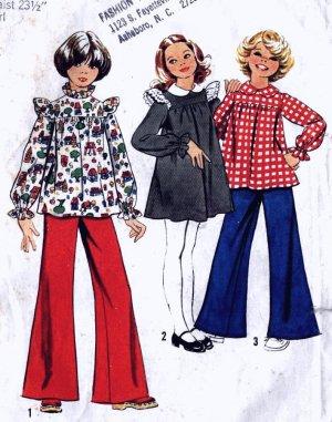 Ruffled Shoulder Tunic Top, Wide Legged Pants, Dress size 8 Simplicity 5821