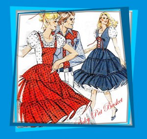 Kwik Sew 915 Western Square Dance Dress, Mock Laced Closing, 2 styles