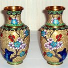 Vinage Chinese Cloisonné Vases - - Red Bulbs Royal BLue Water Golden-Tan Color Flowered Tree