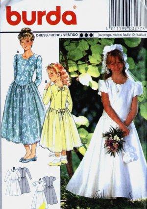 girls SCALLOPED Neckline Formal, Flower Girl Dress vintage sewing pattern Burda 3277