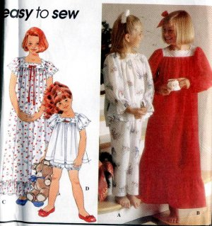Girls Nightgown, Pajamas size small medium large Simplicity 8818