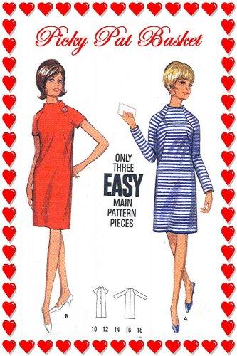 1960s Retro STANDING COLLAR Raglan Sleeves Dress - Size 12 Bust 32 - Butterick 4430