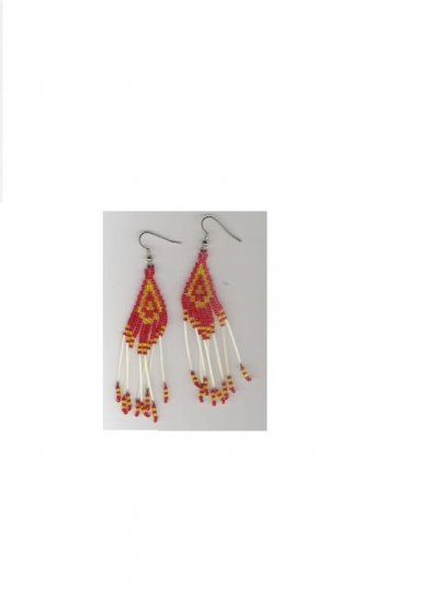 Handcrafted Beaded quill earrings